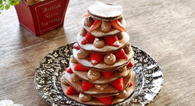 パンケーキで簡単チョコレートケーキ